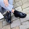 Шкіряні дизайнерські чорні жіночі чоботи натуральна шкіра на флісі, фото 8