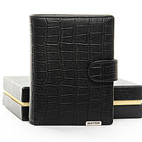 Мужское  портмоне Crocodile кожа BRETTON M4753 black.Мужские кошельки оптом и в розницу Украине