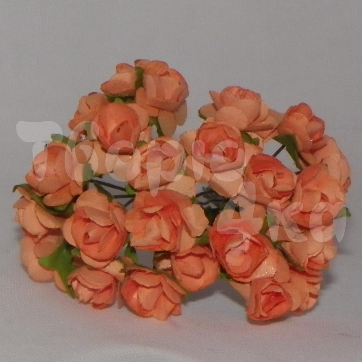 Цветок розы бумажный оранжевый