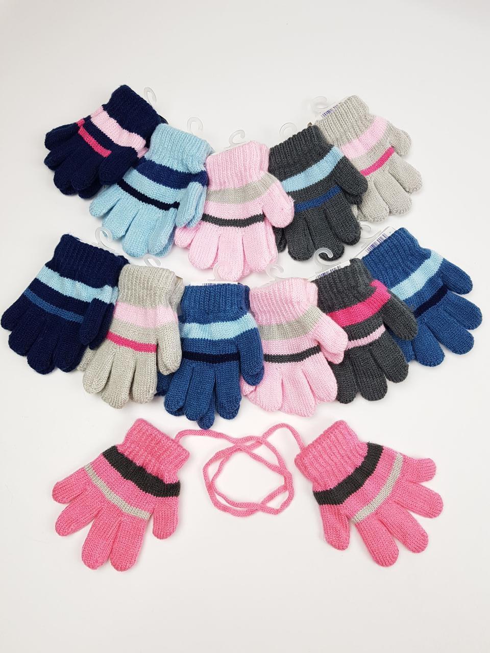 Детские польские перчатки для девочек, р.11см (6-12 мес) (12шт. набор)