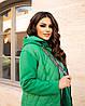 Жіноча стьобана осіння куртка на синтепоні і з трикотажними рукавами, з капюшоном, батал великі розміри, фото 10