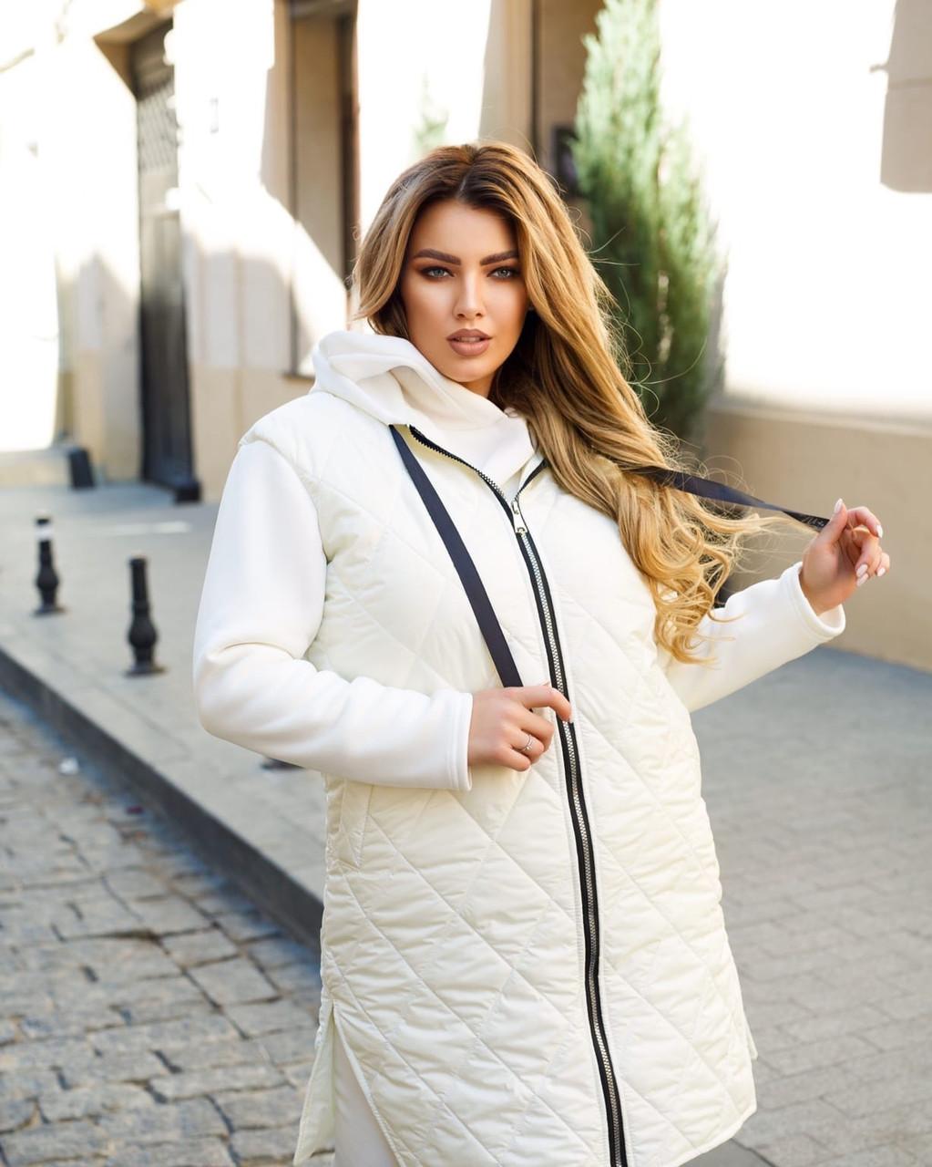 Жіноча стьобана осіння куртка на синтепоні і з трикотажними рукавами, з капюшоном, батал великі розміри
