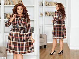Круте короткий розкльошені сукні з французького трикотажу в клітку р: 50-52, 54-56, 58-60 арт. 046-1
