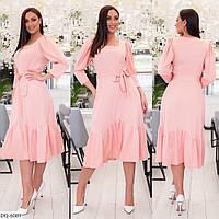 Романтичне однотонне плаття за коліно з костюмної тканини під поясок довжини міді р: 48, 50, 52, 54 арт. 730