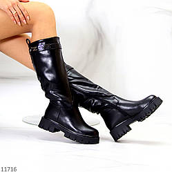 Ультра модные высокие черные женские зимние сапоги берцы на тракторной подошве