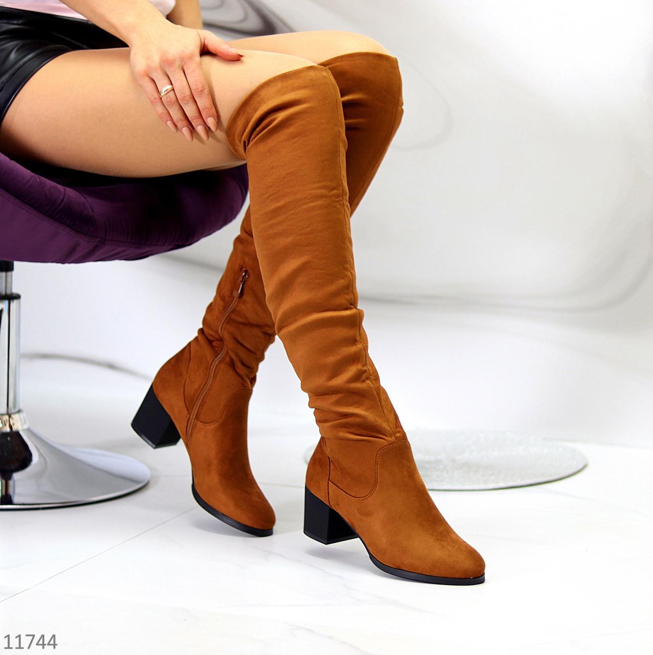Високі жіночі замшеві чоботи ботфорти на низькому каблуці на флісі 37-24 38-24,5 см