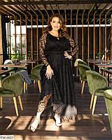 Шикарне вечірнє плаття в підлогу з спідницею кльош з сітки флок на підкладці р:50-52,58-60,54-56 арт. 4000