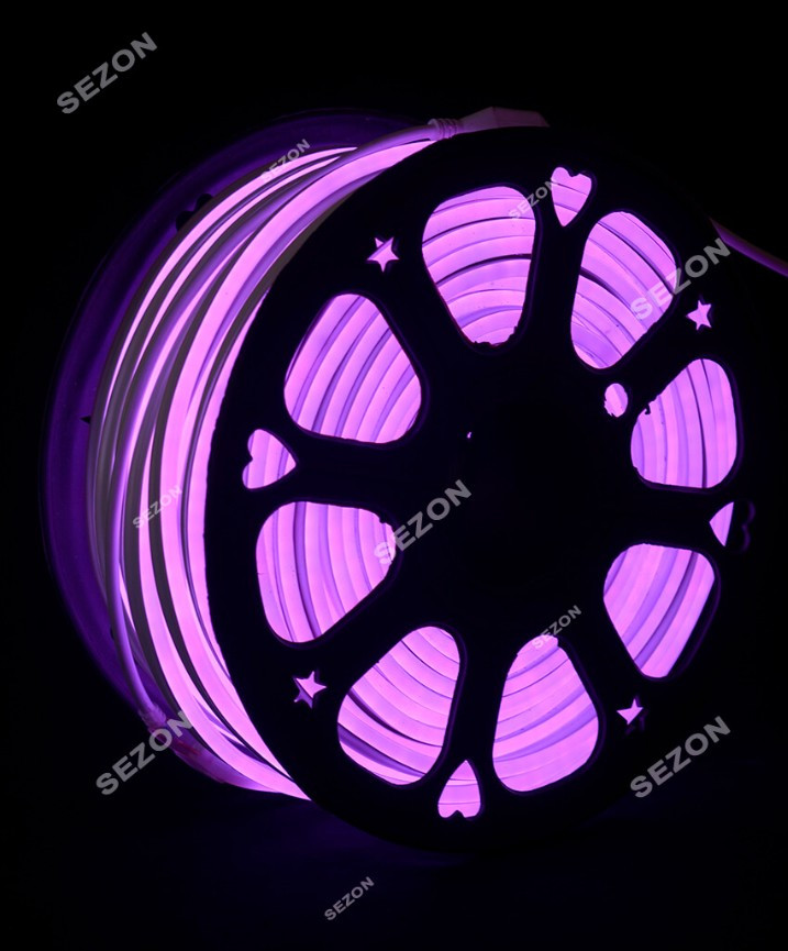 Светодиодный Гибкий Неон 2 х сторонний LED Флекс Неон 50 м Фиолетовый