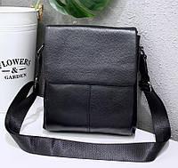 Компактная мужская сумка через плечо из натуральной кожи JZ N09 черная, фото 1