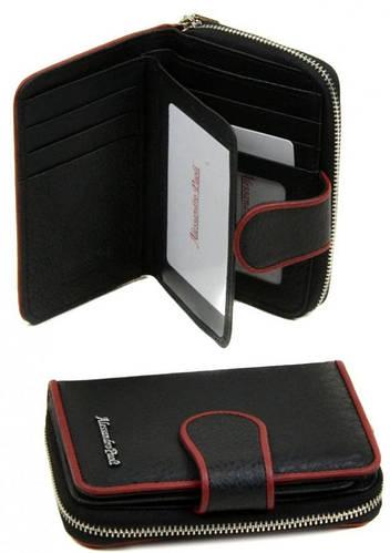 Удобный кожаный женский кошелек Alessandro Paoli WS-4 black черный
