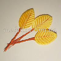 Искусственные листочки, цвет желтый, 5 см,