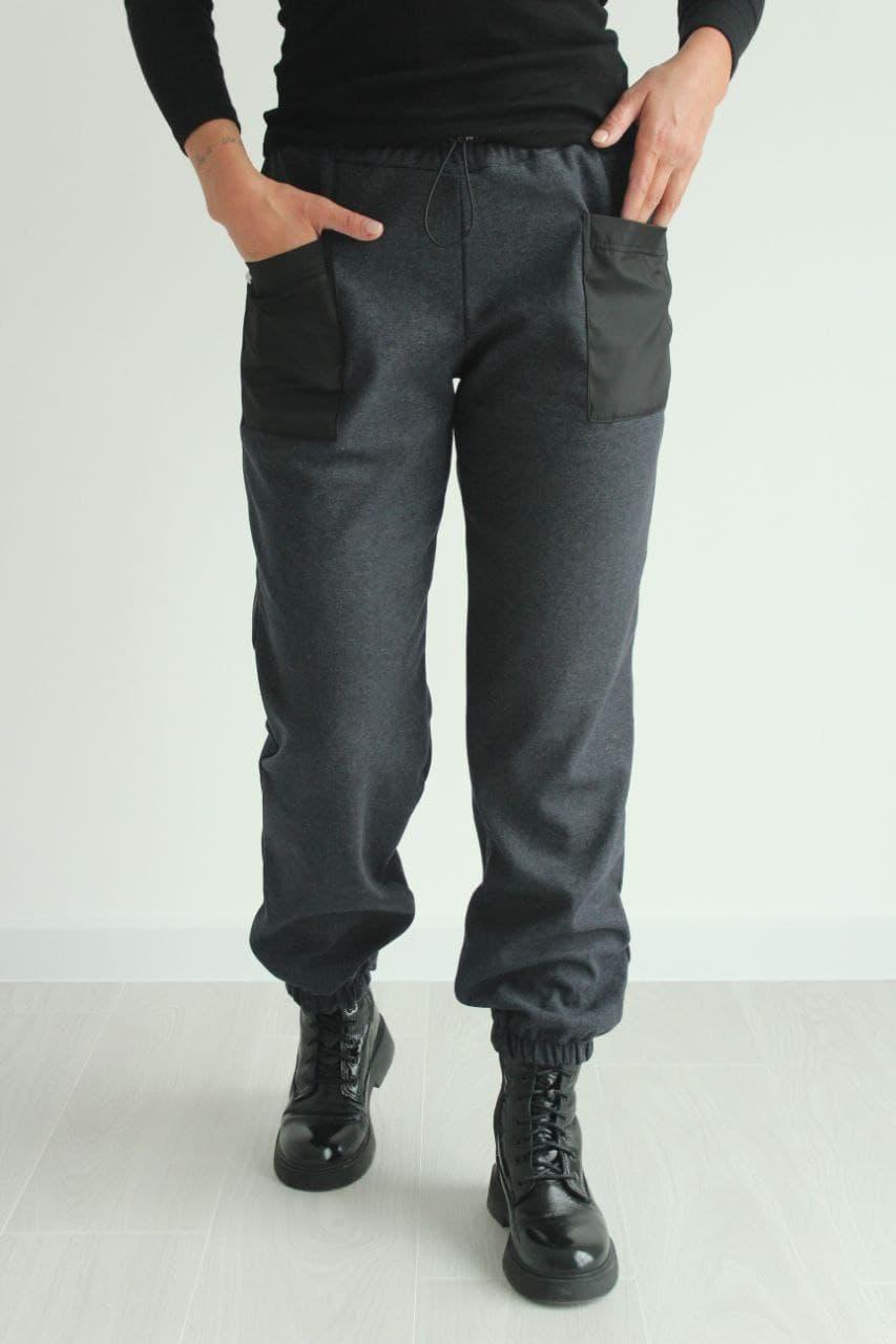 Штани жіночі теплі з стрейчової вовни стильні №149 колір сірий
