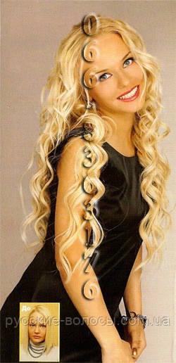 Волосы на заколках волнистые 50 см. Блонд.