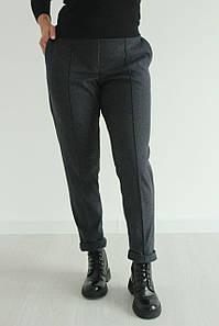 Брюки женские теплые из стрейчевой шерсти со стрелками стильные №192 цвет серый
