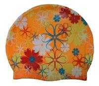 Шапочка для плавания «Цветы», оранжевая, фото 1