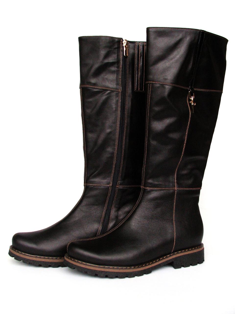 Сапоги коричневые кожаные