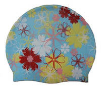 Шапочка для плавания «Цветы», голубая, фото 1