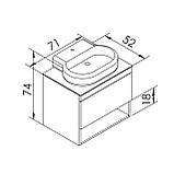 BLACK EDGE комплект меблів 70см, дуб: тумба підвісна зі стільницею 1 ящик + умивальник накладний i32119(2), фото 2