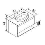 BLACK EDGE комплект меблів 90см, дуб: тумба підвісна зі стільницею 1 ящик + умивальник накладний i32119(2), фото 2