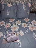 Байковый  комплект постельного белья Байка ( фланель)  Цветы на Розовом Евро размер, фото 3