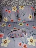 Байковый  комплект постельного белья Байка ( фланель)  Цветы на Розовом Евро размер, фото 5