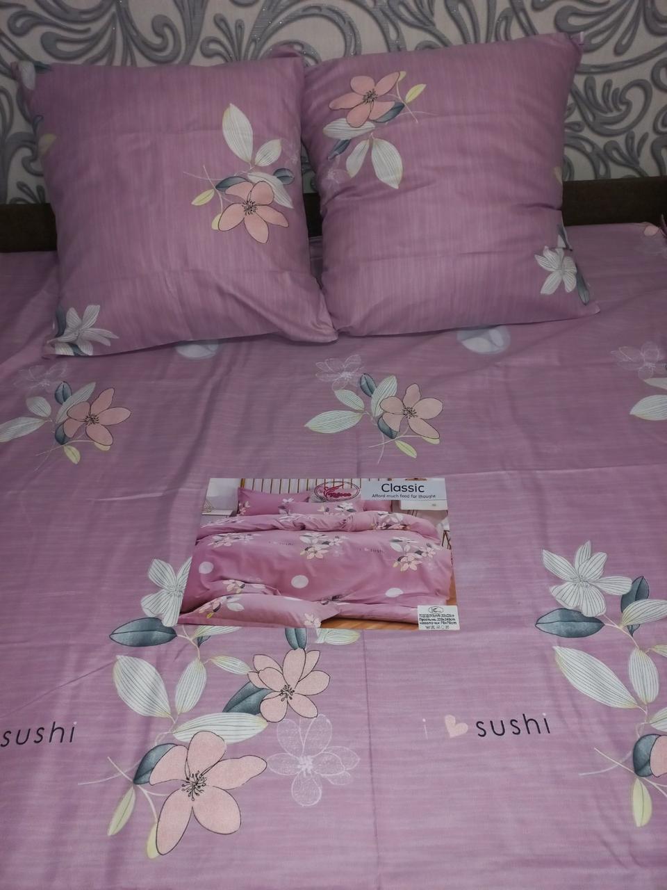 Байковый  комплект постельного белья Байка ( фланель)  Цветы на Розовом Евро размер