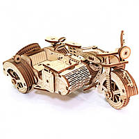 Дерев'яний 3D конструктор Мотоцикл з коляскою UnityWood «Moto R Sahara» 129 деталей 17*13*8 см (UW-005)