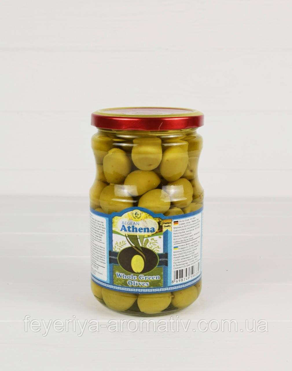Оливки зеленые с косточкой Athena 700г/400г (Турция)