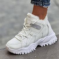 Жіночі зимові кросівки білі теплі (4051)