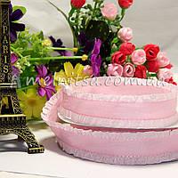 Лента с рюшей 2,5 см, св. розовая