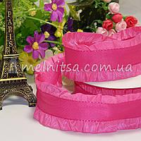 Лента с рюшей 4 см, розовый