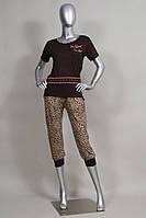 Пижама женская с леопардовыми  капри   Nicoletta 12536