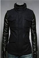 Мужская приталенная куртка из кашемира с рукавами из ко-кожи черная