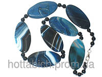 Ожерелье голубое из натурального агата