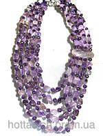 Натуральные бусы из  фиолетового аметиста