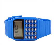 Детские наручные Часы-Калькулятор голубые, фото 2