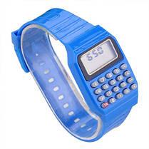 Детские наручные Часы-Калькулятор голубые, фото 3
