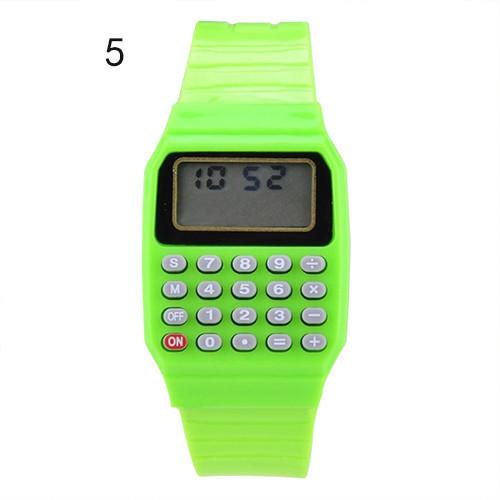 Детские наручные Часы-Калькулятор зеленые