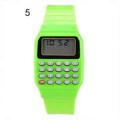 Дитячі наручні Годинники-Калькулятор зелені