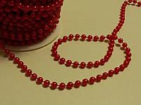 Бусинки на нити красные 6 мм