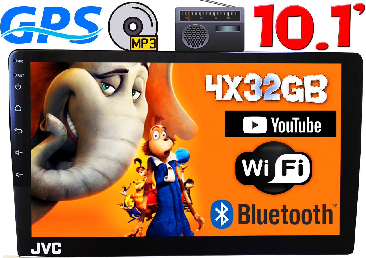 Автомагнитола JVC, 4/32GB экран 10.1'', GPS, Android10, 2DIN,2USB,WIFI,FM,BT КОРЕЯ!