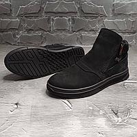 Чёрные мужские зимние ботинки из натурального нубука Billionaire   натуральный нубук/натуральная шерсть + ТПУ