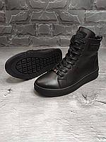 Чёрные мужские кожаные зимние ботинки PHILIPP PLEIN   натуральная кожа / натуральная шерсть + термополиуретан