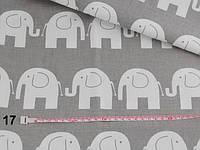 Бязь с белыми слониками на сером фоне (№17).