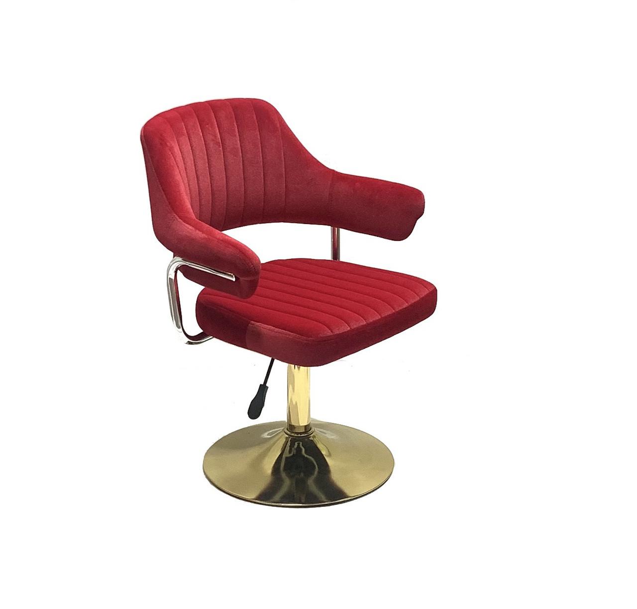 Крісло з підлокітниками червоний оксамит для клієнта на золотому підставі з регулюванням висоти JEFF GD-Base