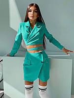 Костюм Лиза женский стильный укорочённый пиджак с подплечниками с завязками на талии и мини юбка Kdv1349