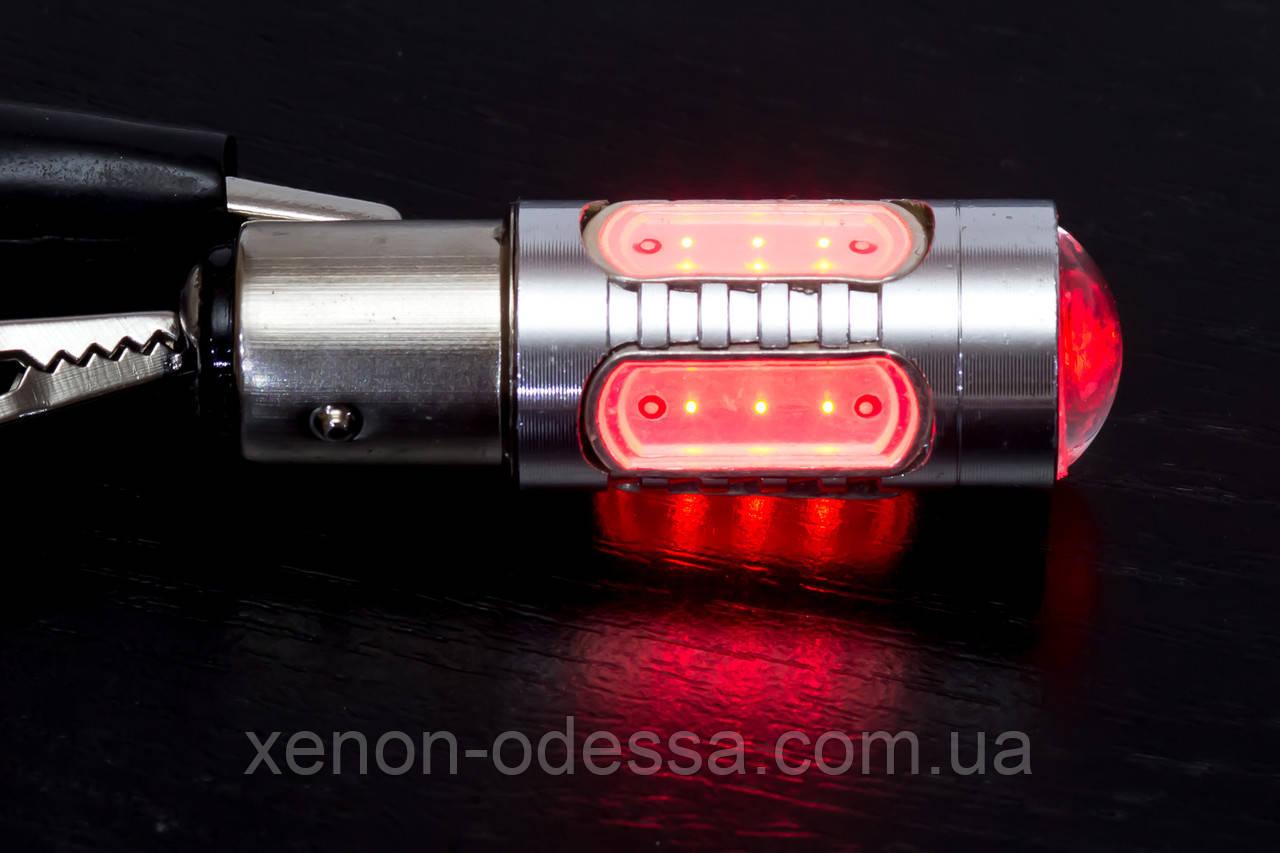 Яркий светодиод 7.5W COB LED 1157 / P21/5W / BAY15D Red 7.5W Red / Красный (Габарит+Стоп)