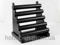Черная стойка для браслетов из кожи