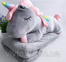 Плед іграшка єдиноріг і подушка 3в1 оптом