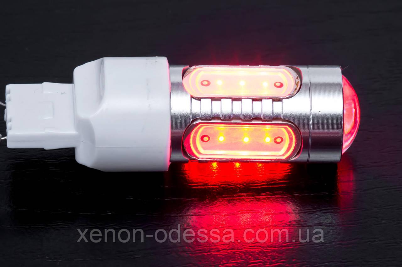 Яркий светодиод 7.5W T20 COB LED Red / Красный (Габарит+Стоп)